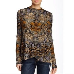 Free People New World Nouveau Abstract Lace Top
